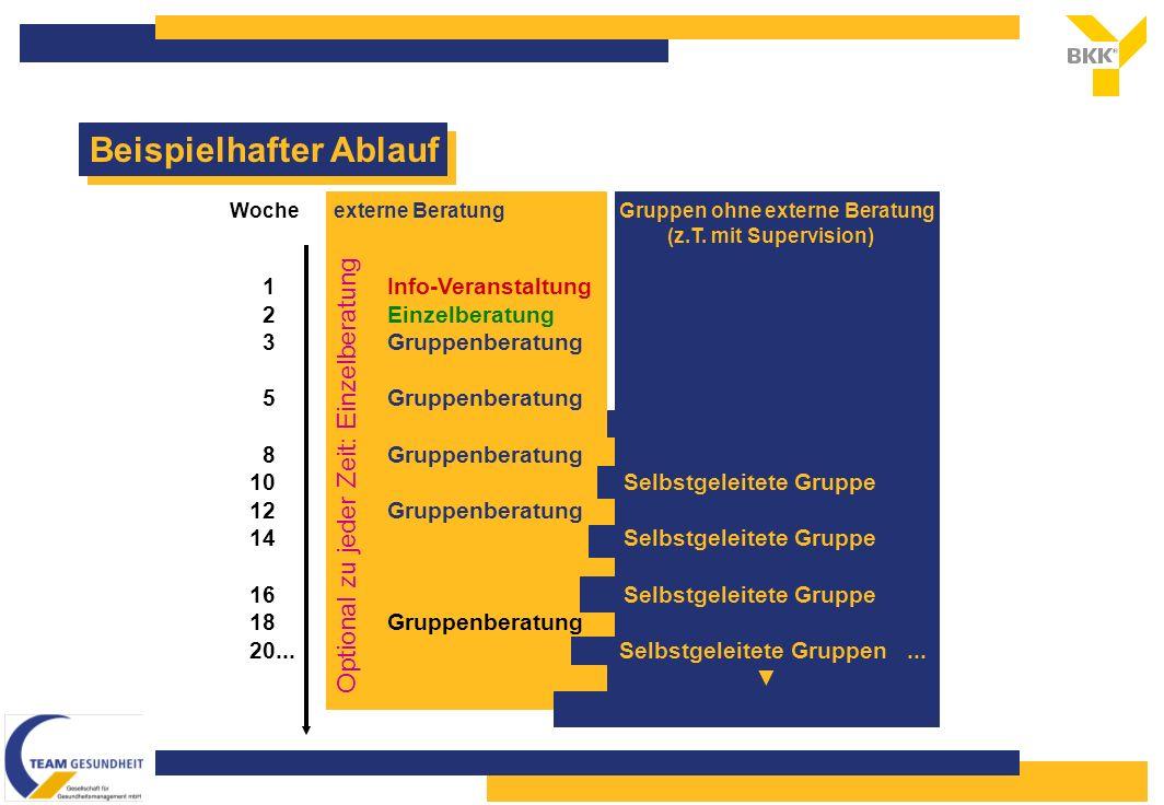 Beispielhafter Ablauf Optional zu jeder Zeit: Einzelberatung Woche externe Beratung Gruppen ohne externe Beratung (z.T.