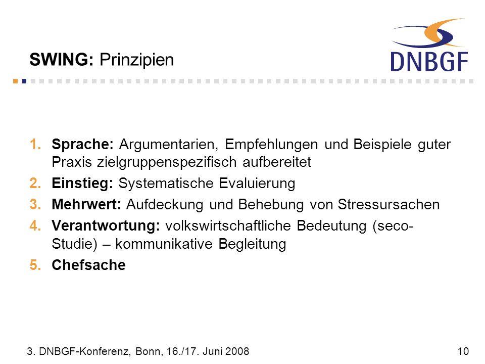 3. DNBGF-Konferenz, Bonn, 16./17. Juni 200810 SWING: Prinzipien Sprache: Argumentarien, Empfehlungen und Beispiele guter Praxis zielgruppenspezifisch