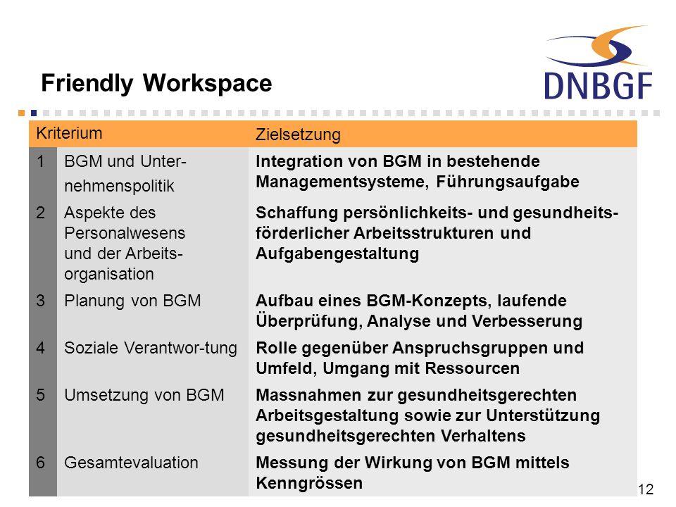 3. DNBGF-Konferenz, Bonn, 16./17. Juni 200812 Friendly Workspace Kriterium Zielsetzung 1BGM und Unter- nehmenspolitik Integration von BGM in bestehend