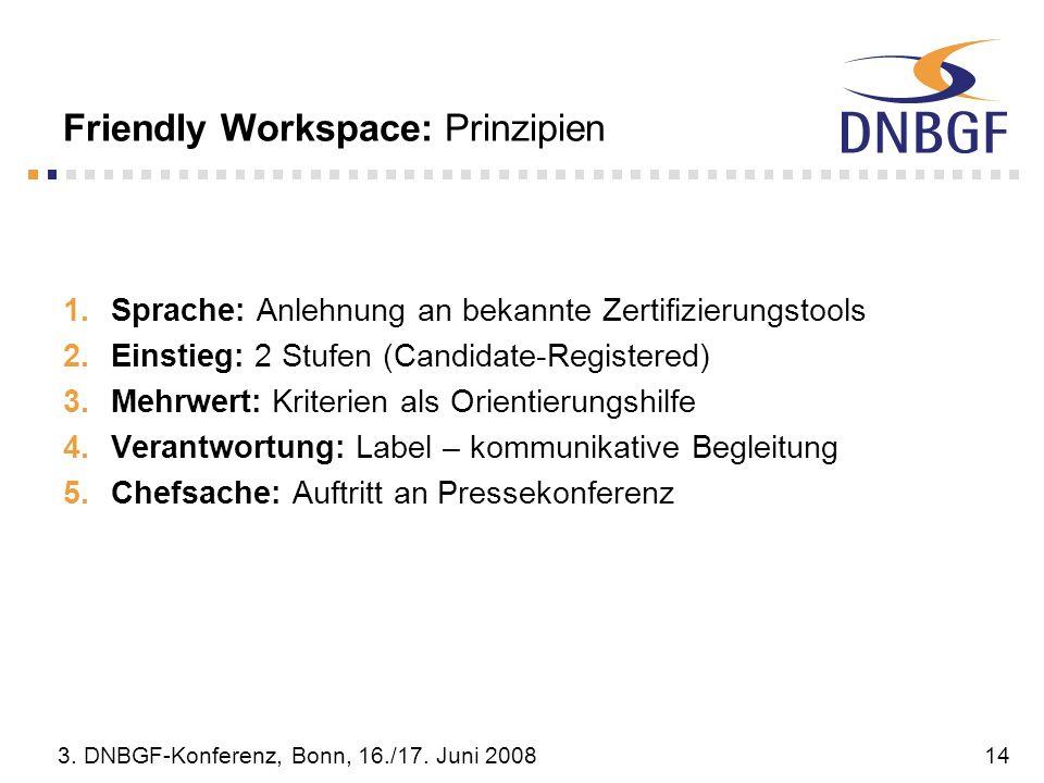 3. DNBGF-Konferenz, Bonn, 16./17. Juni 200814 Friendly Workspace: Prinzipien Sprache: Anlehnung an bekannte Zertifizierungstools Einstieg: 2 Stufen (C