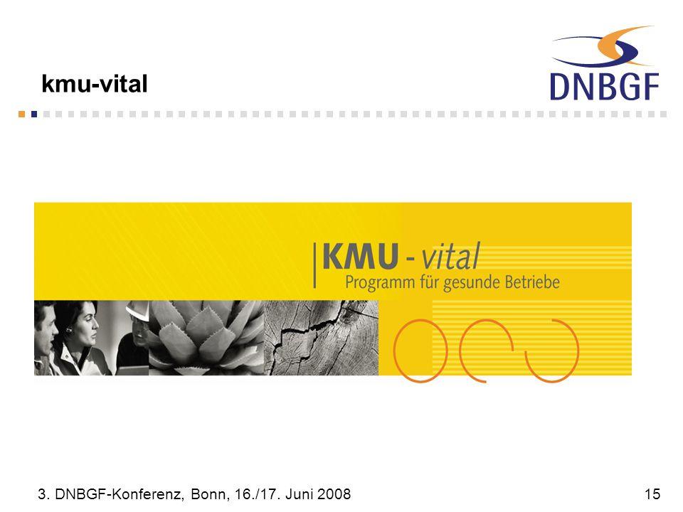 3. DNBGF-Konferenz, Bonn, 16./17. Juni 200815 kmu-vital