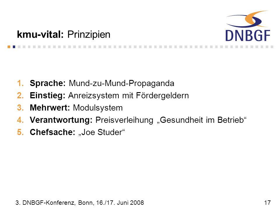 3. DNBGF-Konferenz, Bonn, 16./17. Juni 200817 kmu-vital: Prinzipien Sprache: Mund-zu-Mund-Propaganda Einstieg: Anreizsystem mit Fördergeldern Mehrwert