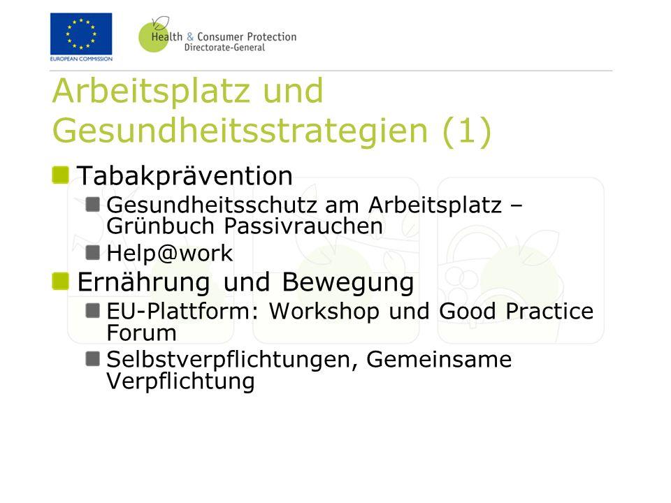 Arbeitsplatz und Gesundheitsstrategien (1) Tabakprävention Gesundheitsschutz am Arbeitsplatz – Grünbuch Passivrauchen Help@work Ernährung und Bewegung EU-Plattform: Workshop und Good Practice Forum Selbstverpflichtungen, Gemeinsame Verpflichtung