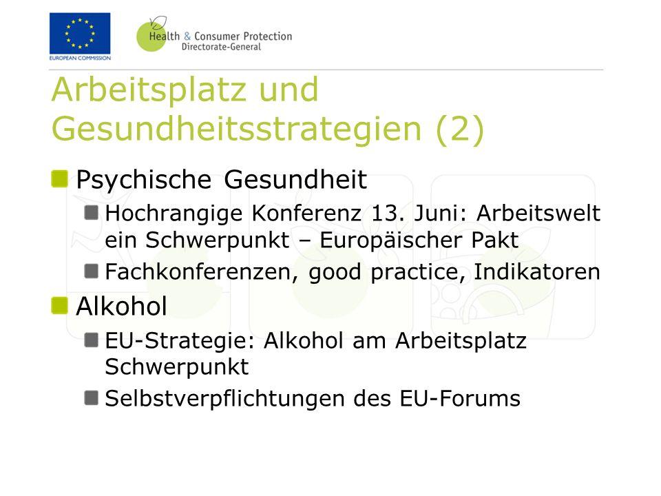 Arbeitsplatz und Gesundheitsstrategien (2) Psychische Gesundheit Hochrangige Konferenz 13. Juni: Arbeitswelt ein Schwerpunkt – Europäischer Pakt Fachk