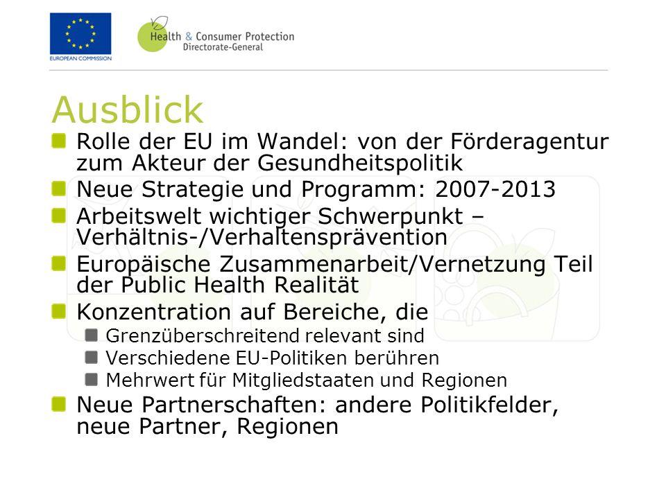 Ausblick Rolle der EU im Wandel: von der Förderagentur zum Akteur der Gesundheitspolitik Neue Strategie und Programm: 2007-2013 Arbeitswelt wichtiger