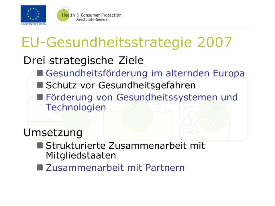 EU-Gesundheitsstrategie 2007 Drei strategische Ziele Gesundheitsförderung im alternden Europa Schutz vor Gesundheitsgefahren Förderung von Gesundheitssystemen und Technologien Umsetzung Strukturierte Zusammenarbeit mit Mitgliedstaaten Zusammenarbeit mit Partnern