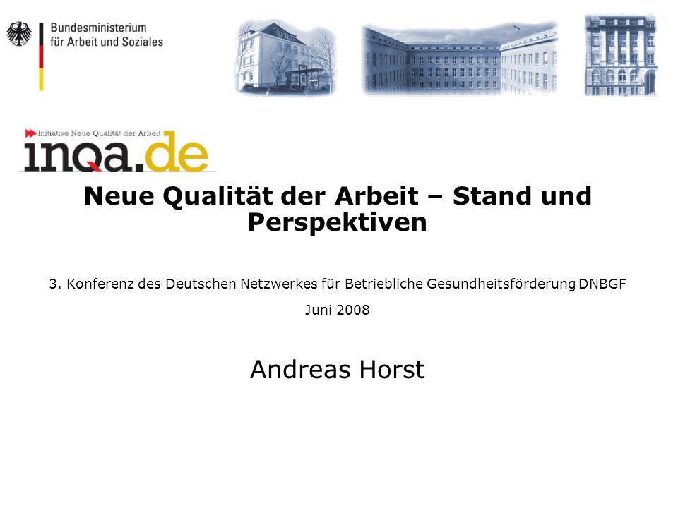 Neue Qualität der Arbeit – Stand und Perspektiven 3. Konferenz des Deutschen Netzwerkes für Betriebliche Gesundheitsförderung DNBGF Juni 2008 Andreas