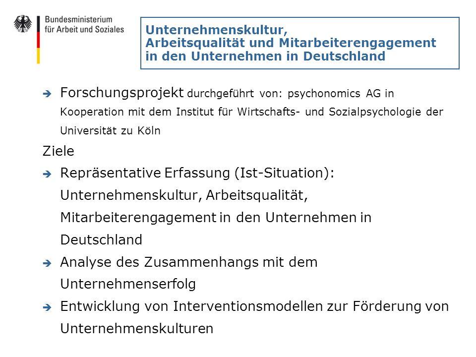 Unternehmenskultur, Arbeitsqualität und Mitarbeiterengagement in den Unternehmen in Deutschland è Forschungsprojekt durchgeführt von: psychonomics AG