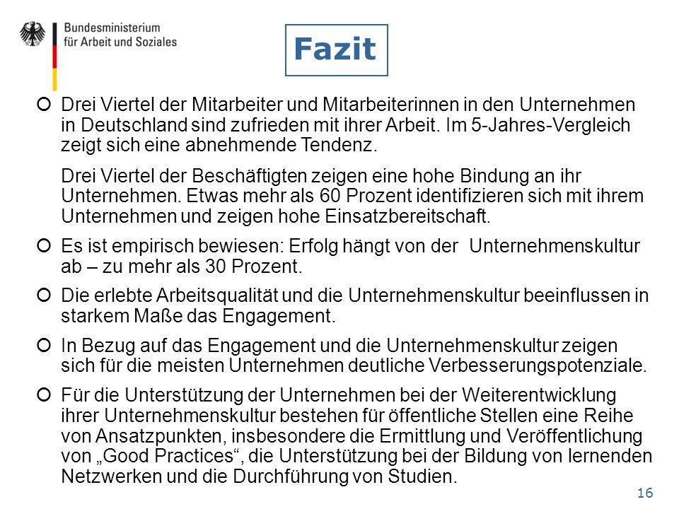 16 Fazit Drei Viertel der Mitarbeiter und Mitarbeiterinnen in den Unternehmen in Deutschland sind zufrieden mit ihrer Arbeit. Im 5-Jahres-Vergleich ze