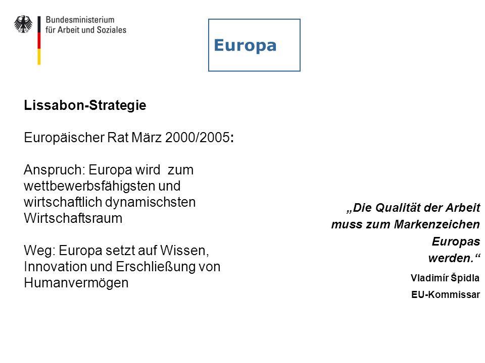 Europa Die Qualität der Arbeit muss zum Markenzeichen Europas werden. Vladimír Špidla EU-Kommissar Lissabon-Strategie Europäischer Rat März 2000/2005: