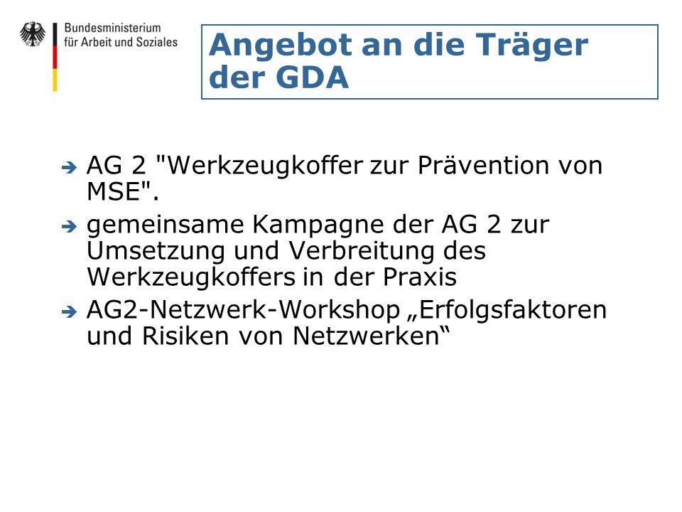Angebot an die Träger der GDA è AG 2