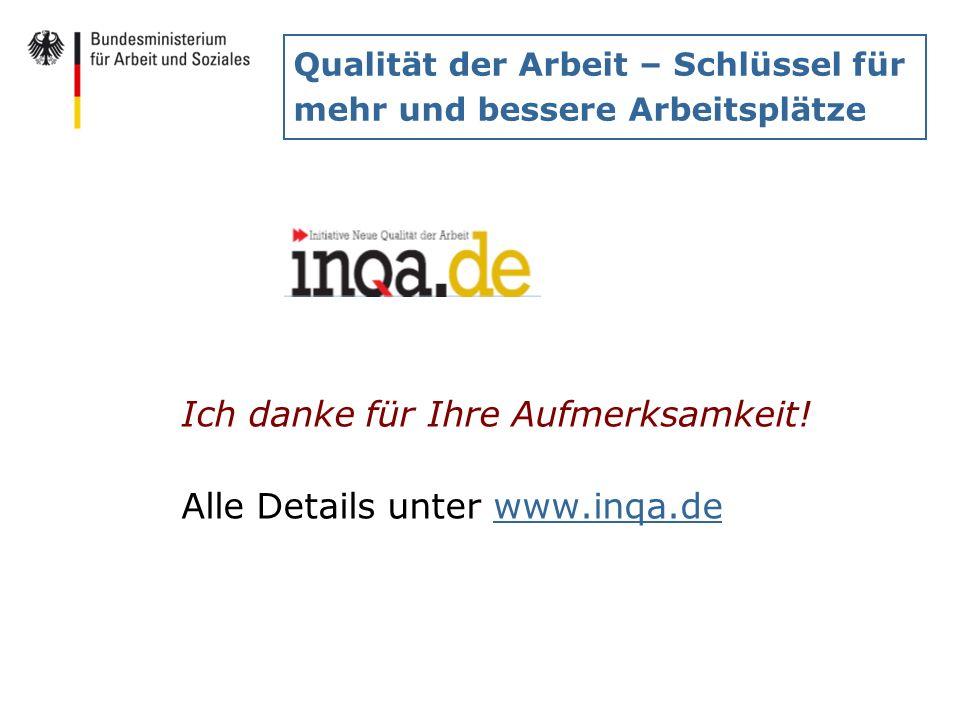 Qualität der Arbeit – Schlüssel für mehr und bessere Arbeitsplätze Ich danke für Ihre Aufmerksamkeit! Alle Details unter www.inqa.dewww.inqa.de