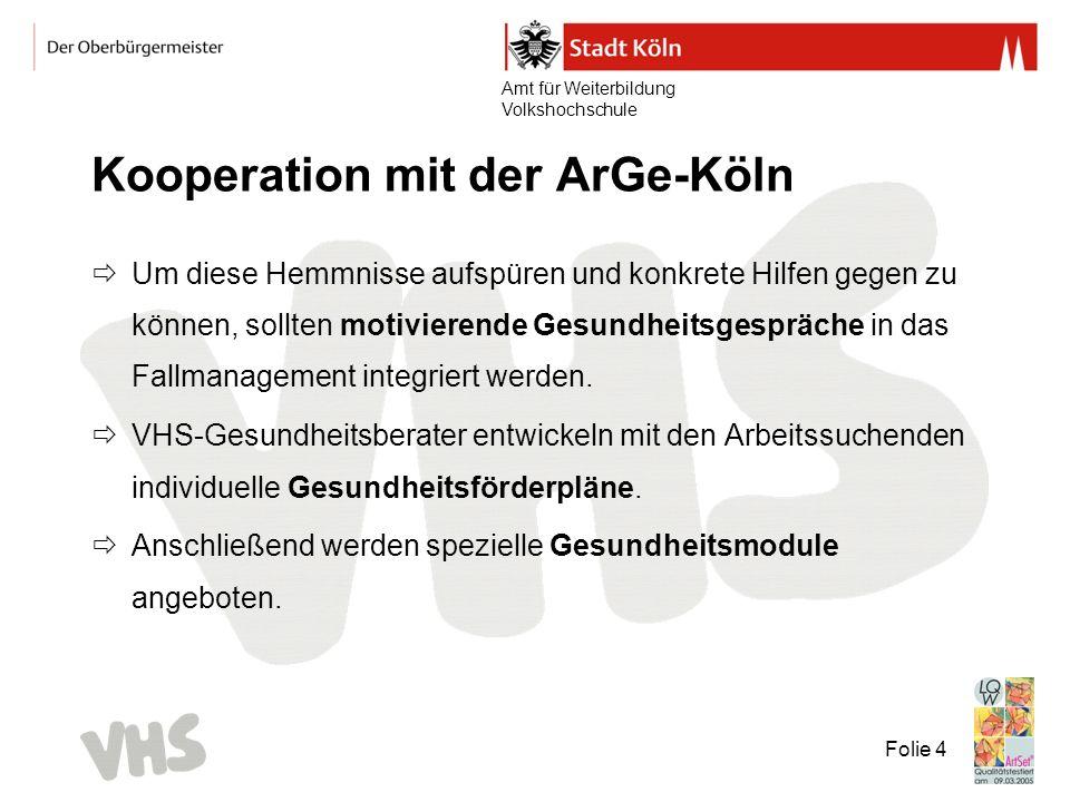 Amt für Weiterbildung Volkshochschule Folie 4 Kooperation mit der ArGe-Köln Um diese Hemmnisse aufspüren und konkrete Hilfen gegen zu können, sollten