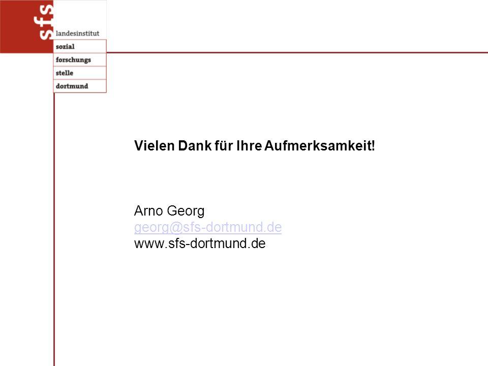 Vielen Dank für Ihre Aufmerksamkeit! Arno Georg georg@sfs-dortmund.de www.sfs-dortmund.de