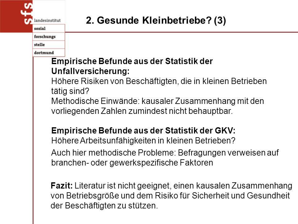 Fazit: Literatur ist nicht geeignet, einen kausalen Zusammenhang von Betriebsgröße und dem Risiko für Sicherheit und Gesundheit der Beschäftigten zu s