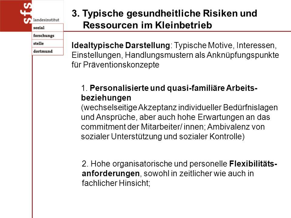 2. Hohe organisatorische und personelle Flexibilitäts- anforderungen, sowohl in zeitlicher wie auch in fachlicher Hinsicht; 3. Typische gesundheitlich