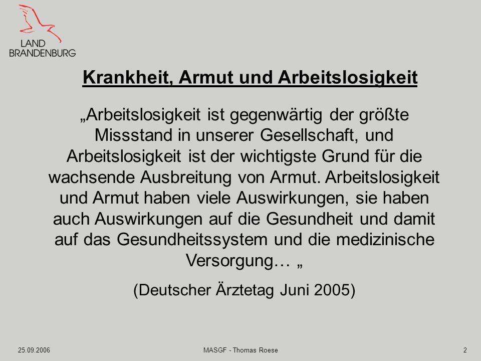 25.09.2006MASGF - Thomas Roese3 Zusammenhang zwischen Arbeitslosigkeit und Gesundheit ist längst hinreichend bekannt und in zahlreichen Studien belegt.