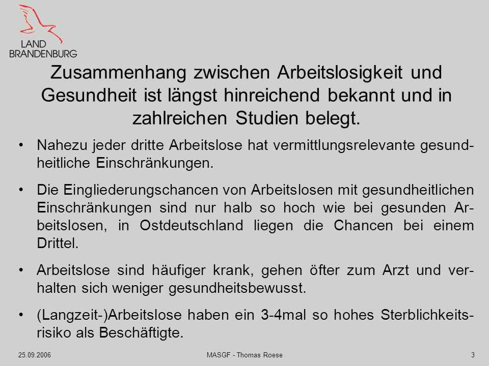 25.09.2006MASGF - Thomas Roese4 Die Notwendigkeit, die gesundheitlichen Hilfen für Arbeitslose zu verbessern, ist unbestritten.