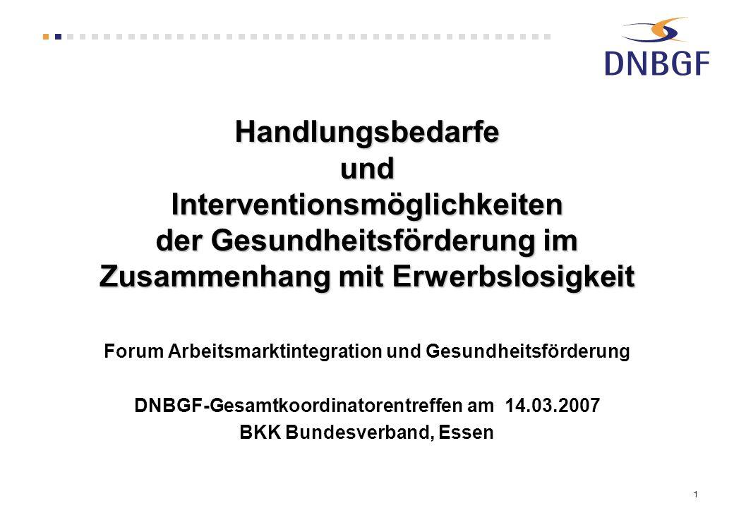 1 Handlungsbedarfe und Interventionsmöglichkeiten der Gesundheitsförderung im Zusammenhang mit Erwerbslosigkeit Forum Arbeitsmarktintegration und Gesu