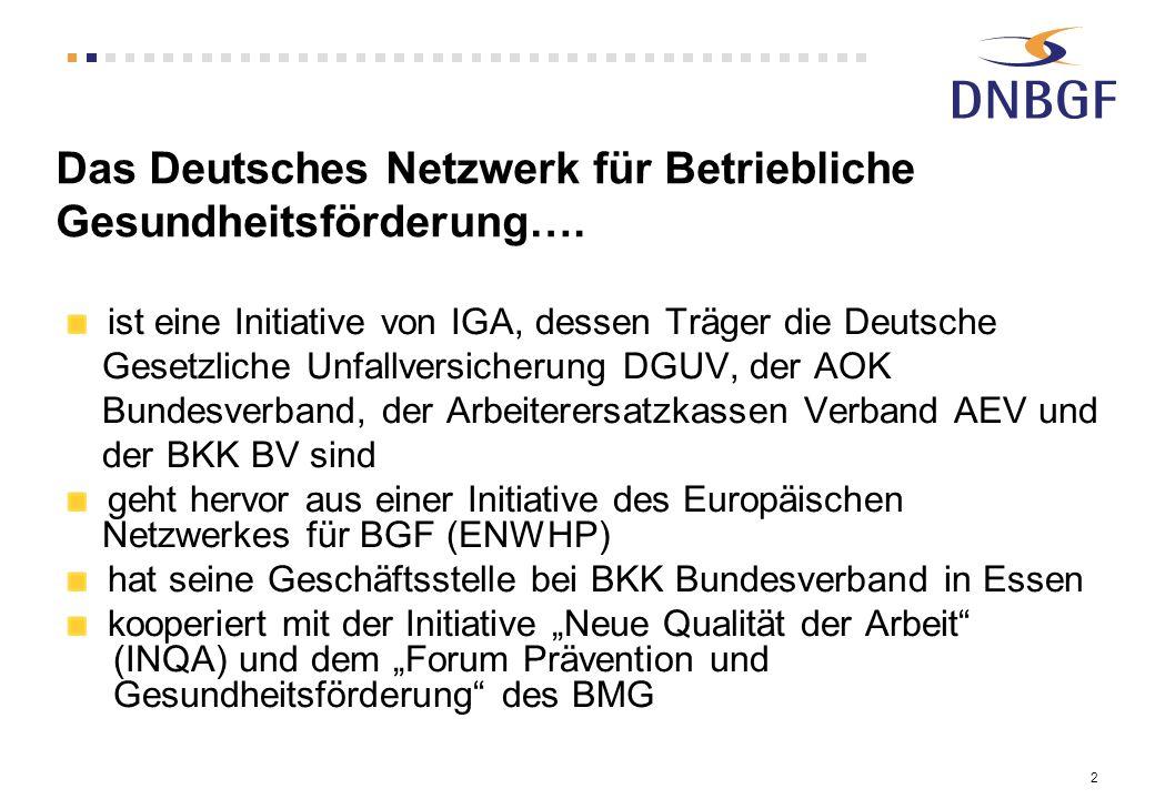 2 Das Deutsches Netzwerk für Betriebliche Gesundheitsförderung…. ist eine Initiative von IGA, dessen Träger die Deutsche Gesetzliche Unfallversicherun