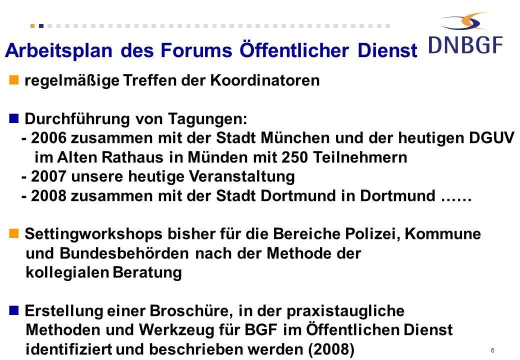 6 Arbeitsplan des Forums Öffentlicher Dienst regelmäßige Treffen der Koordinatoren Durchführung von Tagungen: - 2006 zusammen mit der Stadt München un