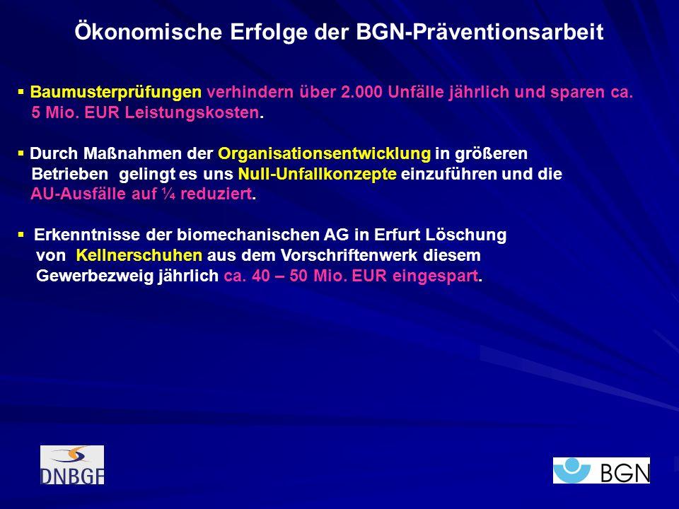 Baumusterprüfungen verhindern über 2.000 Unfälle jährlich und sparen ca. 5 Mio. EUR Leistungskosten. Durch Maßnahmen der Organisationsentwicklung in g