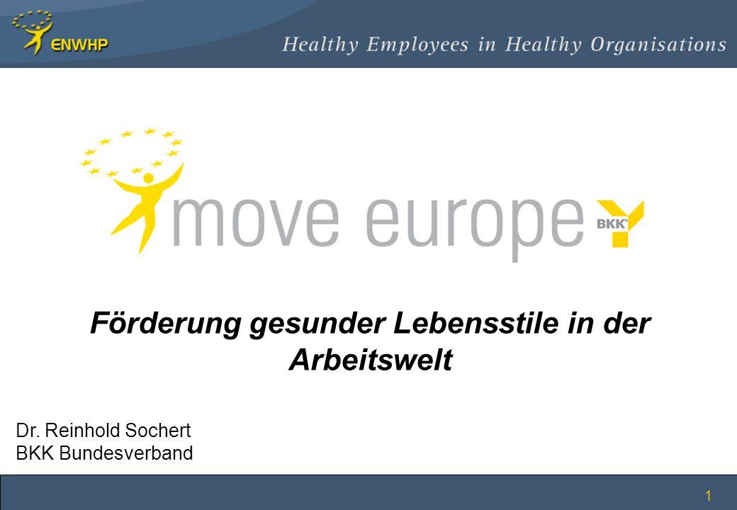 1 Förderung gesunder Lebensstile in der Arbeitswelt Dr. Reinhold Sochert BKK Bundesverband