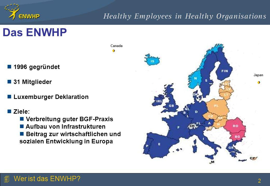 3 Die ENWHP - Initiativen 1996 - 2009 BGF in großen Unternehmen BGF in kleinen Unternehmen BGF im öffentlichen Dienst BGF und Infrastrukturen BGF und demografischer Wandel MoveEurope BGF auf die europäische und nationale Agenda bringen 4 Wer ist das ENWHP.