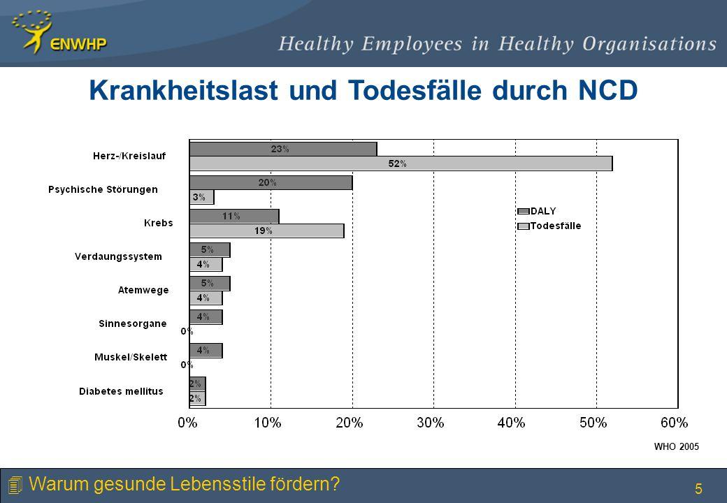 5 Krankheitslast und Todesfälle durch NCD WHO 2005 4 Warum gesunde Lebensstile fördern?