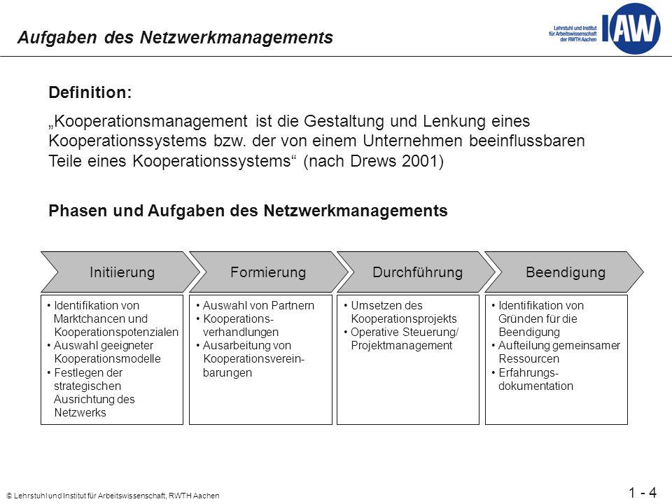 4 © Lehrstuhl und Institut für Arbeitswissenschaft, RWTH Aachen 1 - Aufgaben des Netzwerkmanagements Definition: Kooperationsmanagement ist die Gestaltung und Lenkung eines Kooperationssystems bzw.