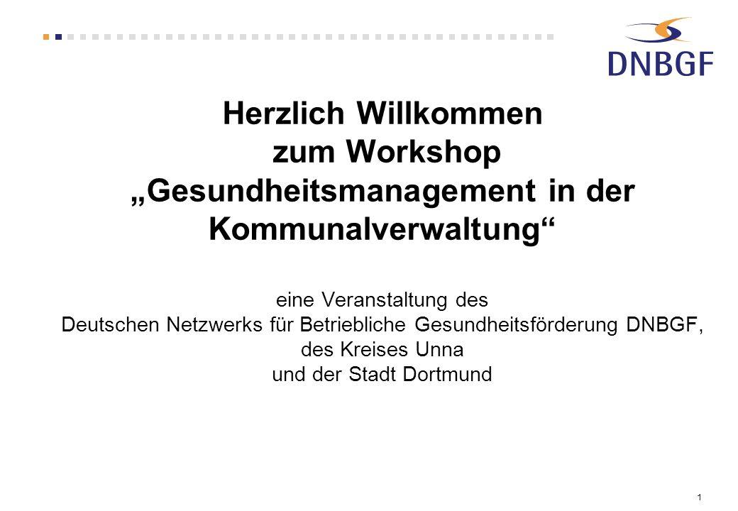 1 Herzlich Willkommen zum Workshop Gesundheitsmanagement in der Kommunalverwaltung eine Veranstaltung des Deutschen Netzwerks für Betriebliche Gesundh