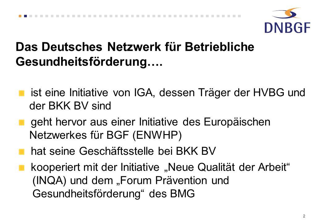 2 Das Deutsches Netzwerk für Betriebliche Gesundheitsförderung…. ist eine Initiative von IGA, dessen Träger der HVBG und der BKK BV sind geht hervor a