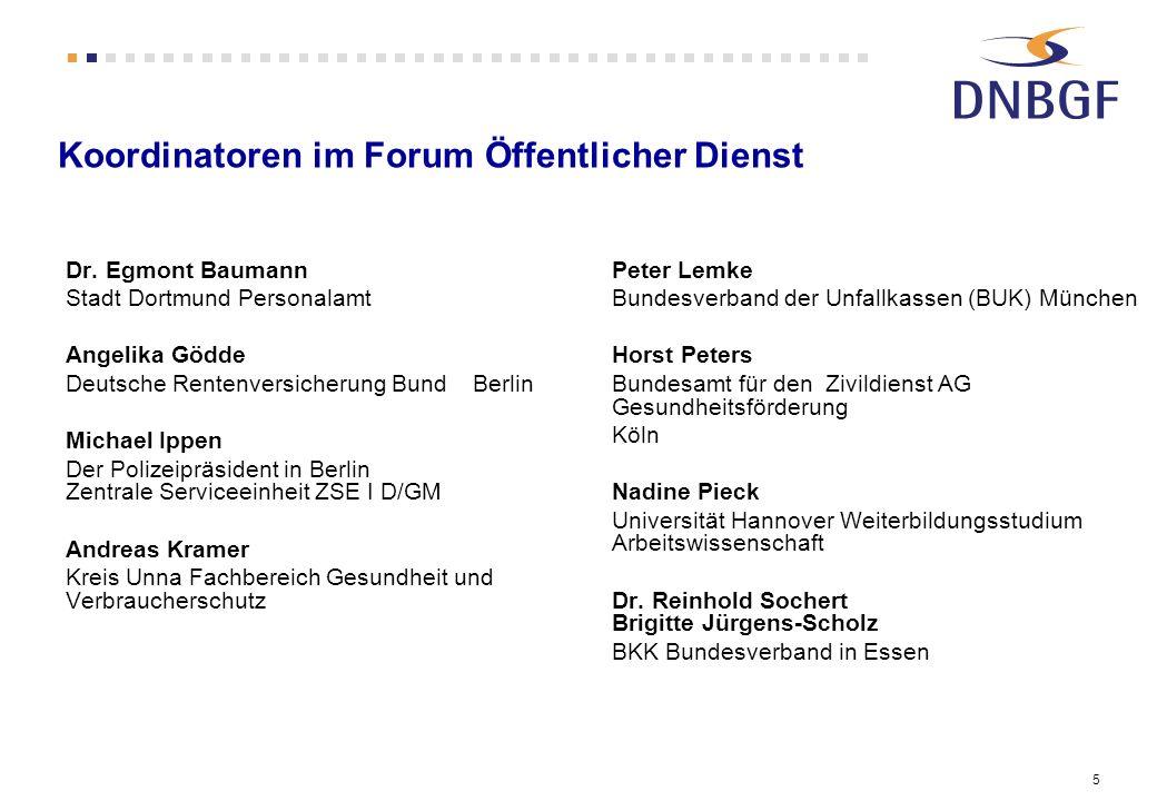 5 Koordinatoren im Forum Öffentlicher Dienst Dr. Egmont Baumann Stadt Dortmund Personalamt Angelika Gödde Deutsche Rentenversicherung Bund Berlin Mich