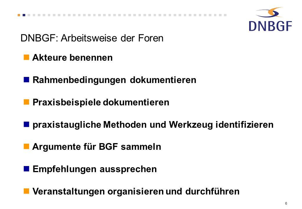 6 DNBGF: Arbeitsweise der Foren Akteure benennen Rahmenbedingungen dokumentieren Praxisbeispiele dokumentieren praxistaugliche Methoden und Werkzeug i