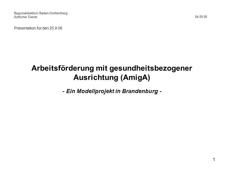 1 Arbeitsförderung mit gesundheitsbezogener Ausrichtung (AmigA) - Ein Modellprojekt in Brandenburg - 04.09.06 Präsentation für den 25.9.06 Regionaldir