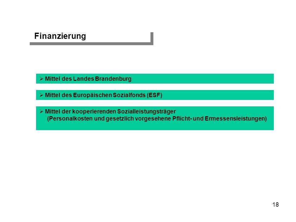 Finanzierung Mittel des Europäischen Sozialfonds (ESF) Mittel des Landes Brandenburg Mittel der kooperierenden Sozialleistungsträger (Personalkosten u
