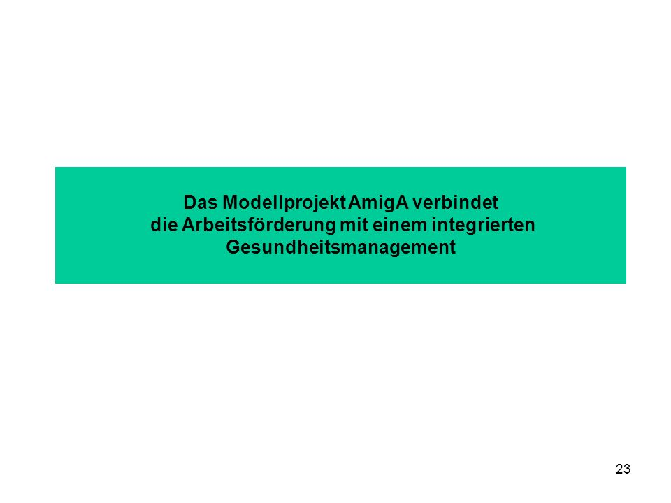 23 Das Modellprojekt AmigA verbindet die Arbeitsförderung mit einem integrierten Gesundheitsmanagement
