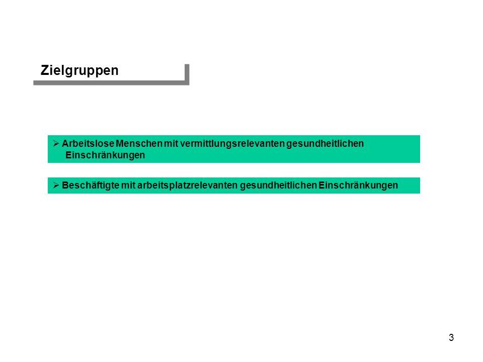 3 Zielgruppen Arbeitslose Menschen mit vermittlungsrelevanten gesundheitlichen Einschränkungen Beschäftigte mit arbeitsplatzrelevanten gesundheitliche