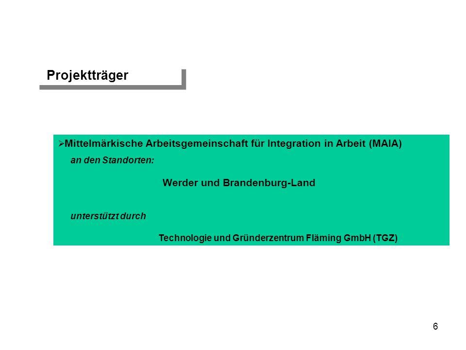 7 Kooperierende Leistungsträger Agentur für Arbeit Potsdam AOK Brandenburg und andere Krankenkassen DRV Brandenburg Regionaldirektion Berlin-Brandenburg der Bundesagentur für Arbeit MASGF Brandenburg Mittelmärkische Arbeitsgemeinschaft für Integration in Arbeit (MAIA)