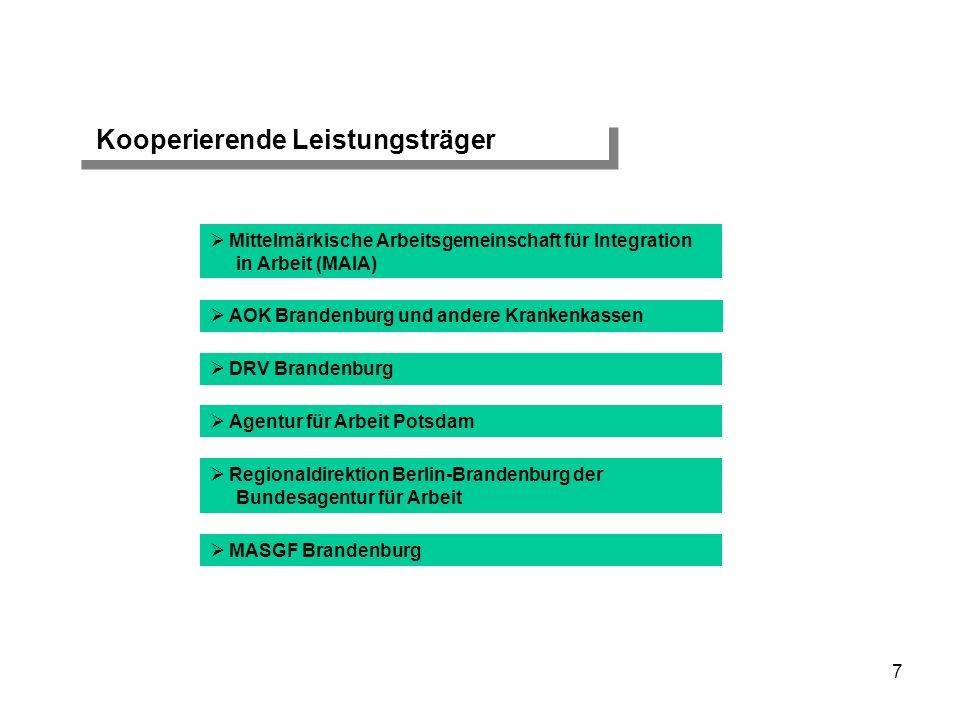 Finanzierung Mittel des Europäischen Sozialfonds (ESF) Mittel des Landes Brandenburg Mittel der kooperierenden Sozialleistungsträger (Personalkosten und gesetzlich vorgesehene Pflicht- und Ermessensleistungen) 18