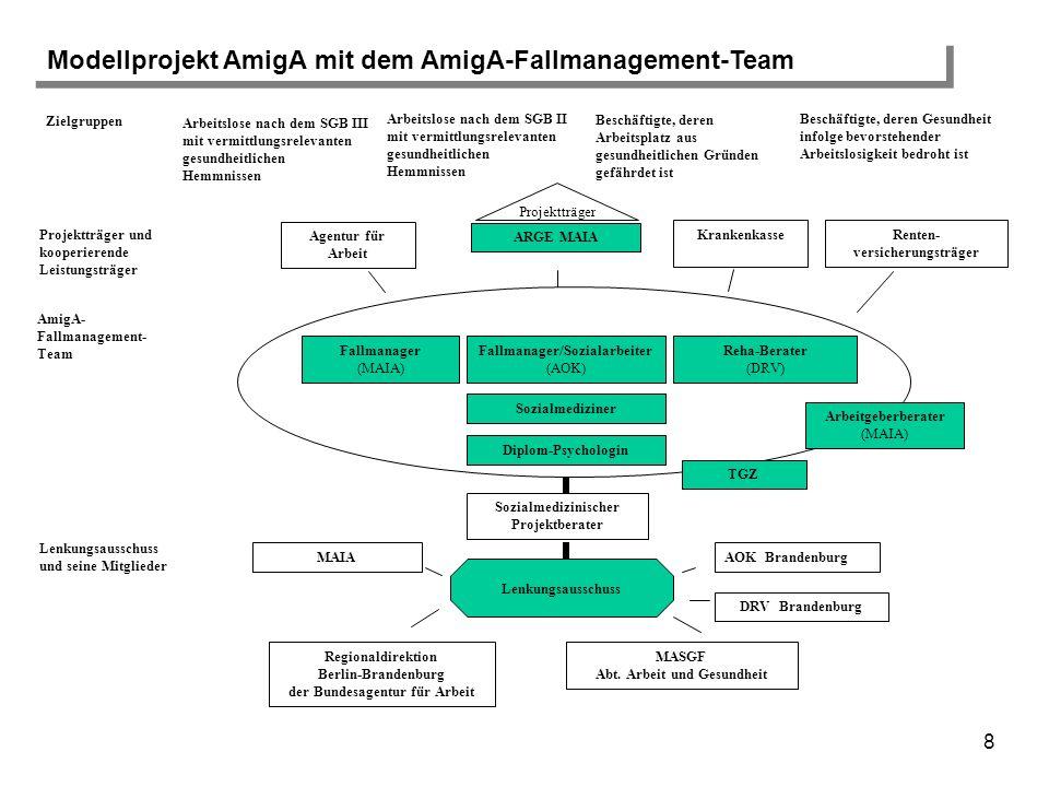 9 Sozialmediziner Fallmanager (MAIA) Fallmanager/ Sozialarbeiter (AOK) Reha-Berater (DRV) Arbeitgeberberater (MAIA) TGZ (Technologie und Gründer- zentrum Fläming GmbH) AmigA-Fallmanagement-Team Diplom- Psychologin