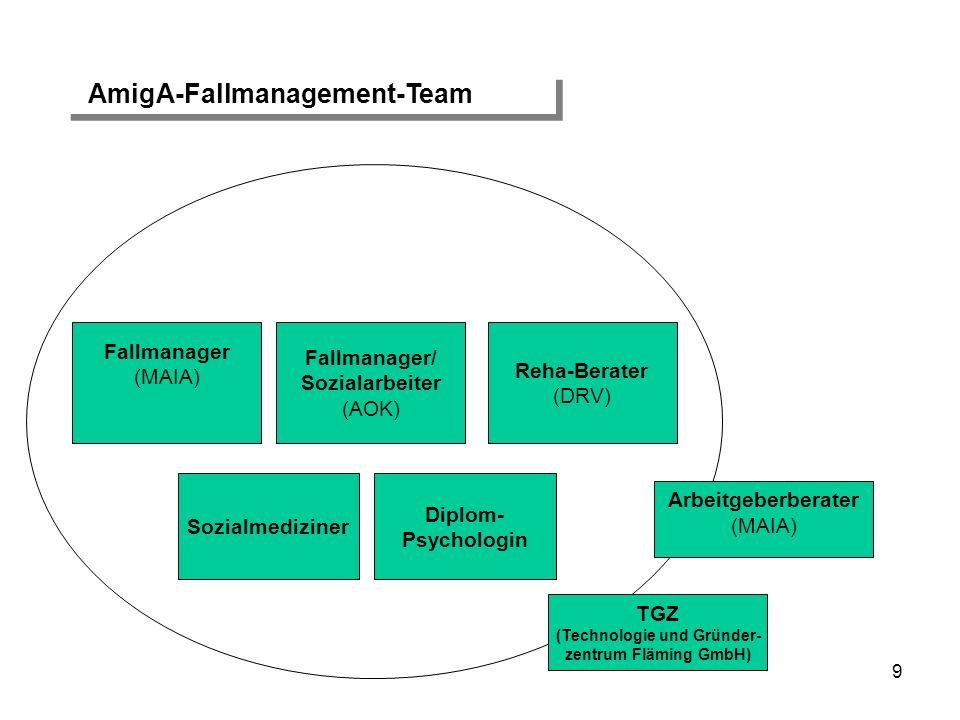 9 Sozialmediziner Fallmanager (MAIA) Fallmanager/ Sozialarbeiter (AOK) Reha-Berater (DRV) Arbeitgeberberater (MAIA) TGZ (Technologie und Gründer- zent