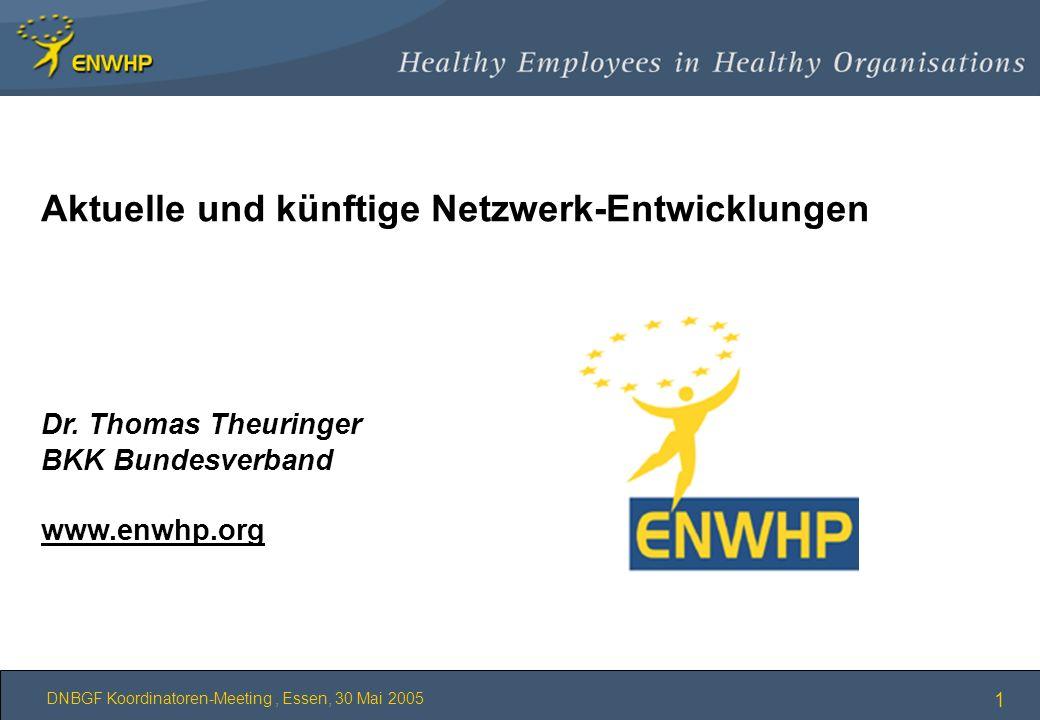 DNBGF Koordinatoren-Meeting, Essen, 30 Mai 2005 1 Aktuelle und künftige Netzwerk-Entwicklungen Dr. Thomas Theuringer BKK Bundesverband www.enwhp.org