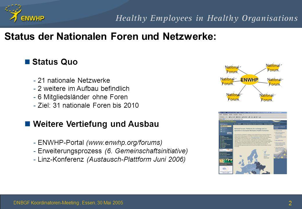 DNBGF Koordinatoren-Meeting, Essen, 30 Mai 2005 2 Status der Nationalen Foren und Netzwerke: n Status Quo - 21 nationale Netzwerke - 2 weitere im Aufb