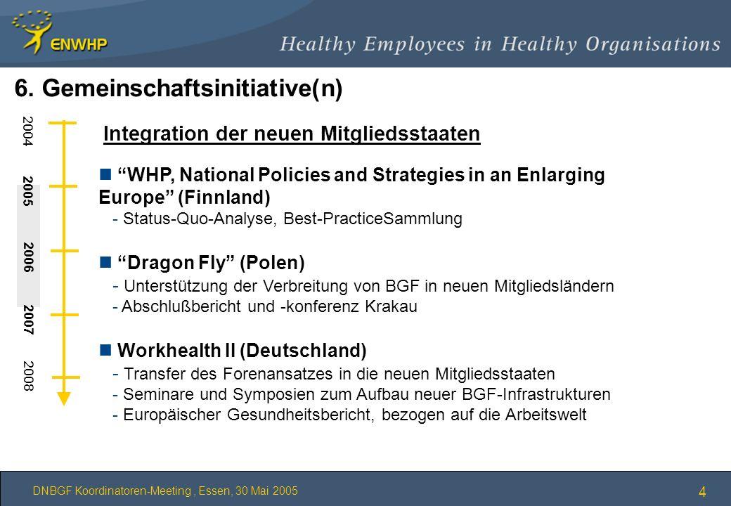 DNBGF Koordinatoren-Meeting, Essen, 30 Mai 2005 4 Integration der neuen Mitgliedsstaaten n WHP, National Policies and Strategies in an Enlarging Europ