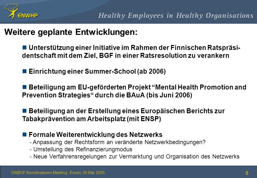 DNBGF Koordinatoren-Meeting, Essen, 30 Mai 2005 6 n Unterstützung einer Initiative im Rahmen der Finnischen Ratspräsi- dentschaft mit dem Ziel, BGF in