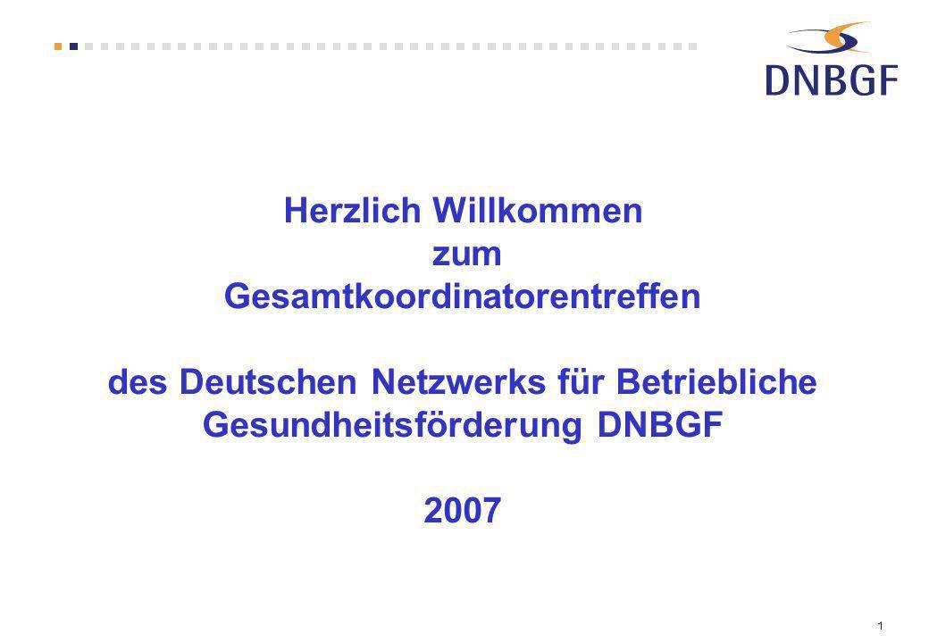 1 Herzlich Willkommen zum Gesamtkoordinatorentreffen des Deutschen Netzwerks für Betriebliche Gesundheitsförderung DNBGF 2007