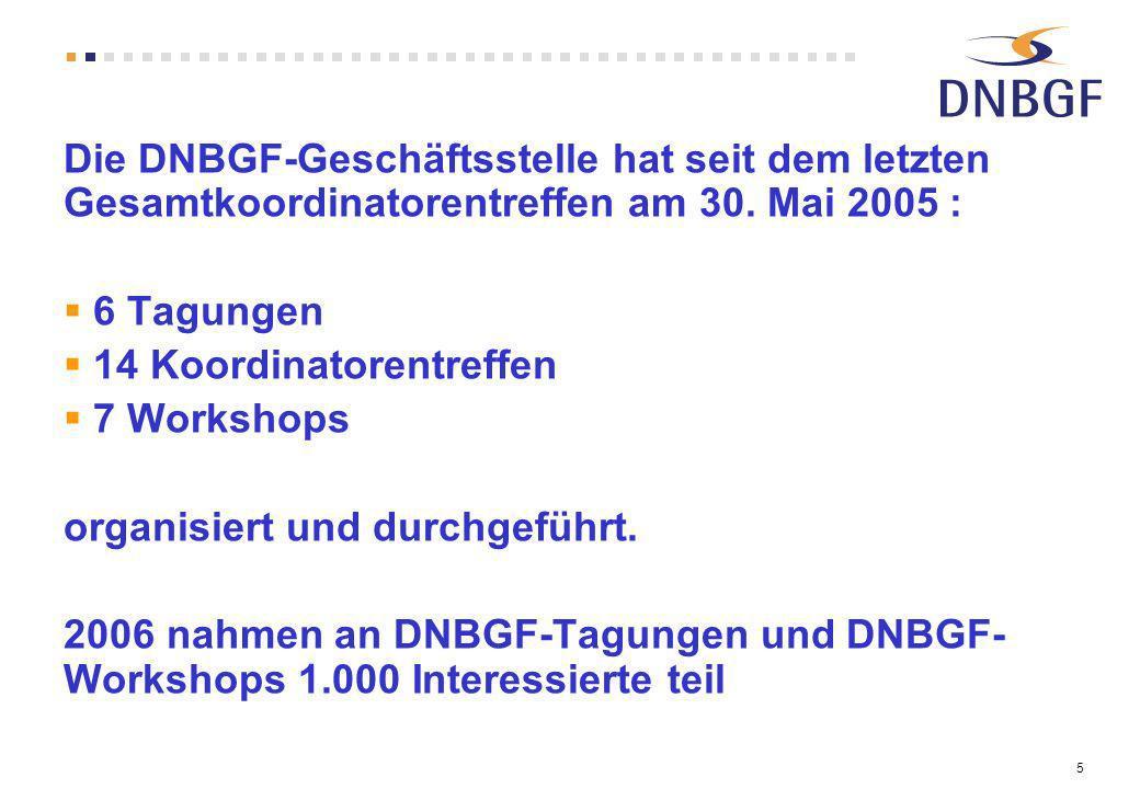 5 Die DNBGF-Geschäftsstelle hat seit dem letzten Gesamtkoordinatorentreffen am 30. Mai 2005 : 6 Tagungen 14 Koordinatorentreffen 7 Workshops organisie