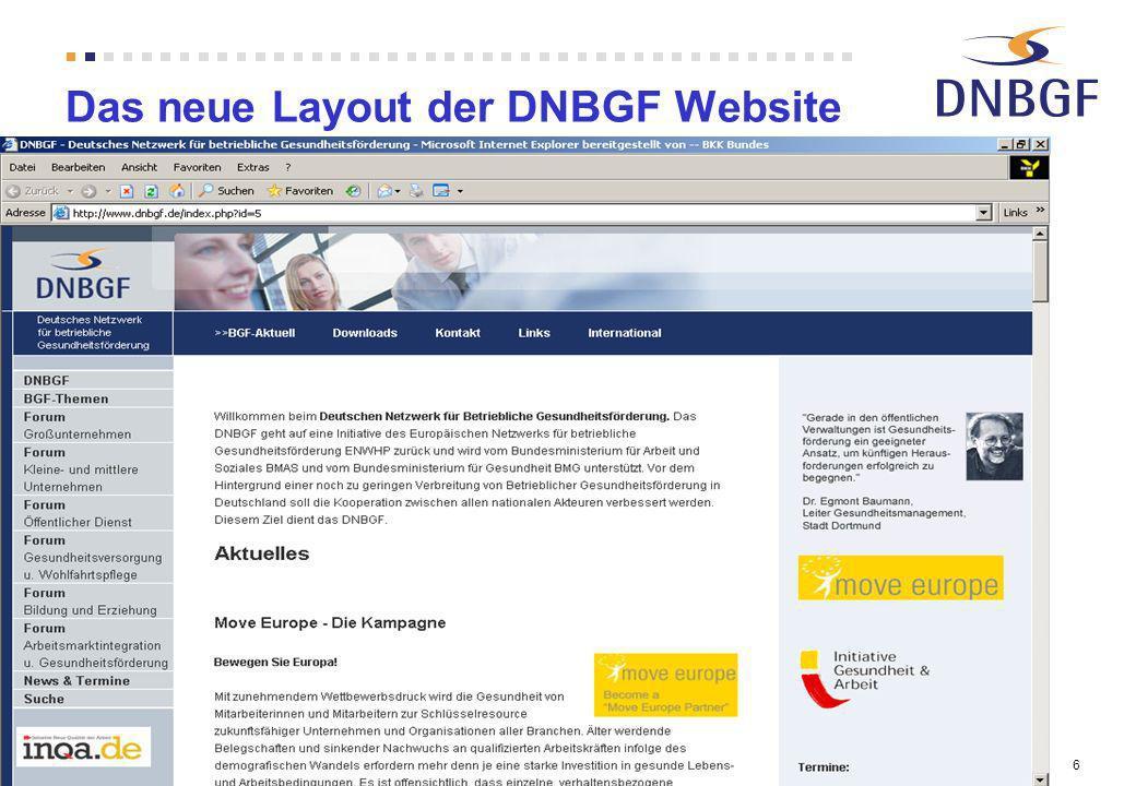 6 Das neue Layout der DNBGF Website