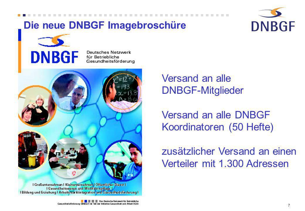 7 Die neue DNBGF Imagebroschüre Versand an alle DNBGF-Mitglieder Versand an alle DNBGF Koordinatoren (50 Hefte) zusätzlicher Versand an einen Verteile